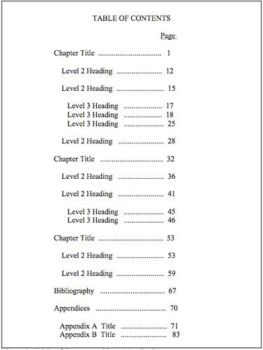 Formatting dissertation guide lamson library at for Table of contents apa style template
