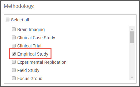 Empirical study filter selected under methodology in advanced search screen
