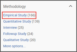 Empirical study filter under methodology displaying number of empirical studies in search results screen