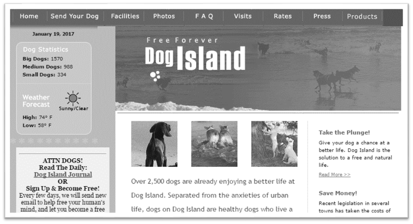 Dog Island homepage claiming dogs can be send to island to live free