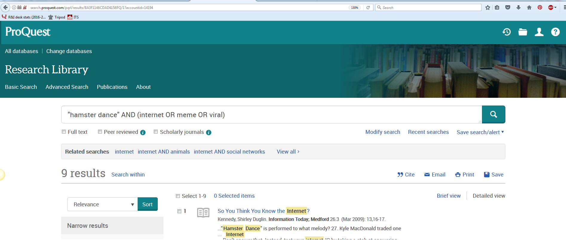 screenshot 1- proquest search results