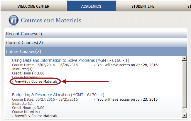 screenshot of the link for ordering course materials