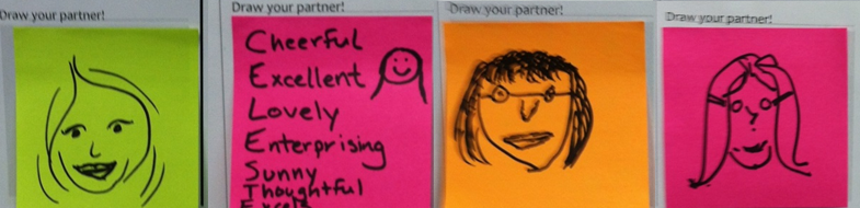 post it note drawings of partners from the interview exercise