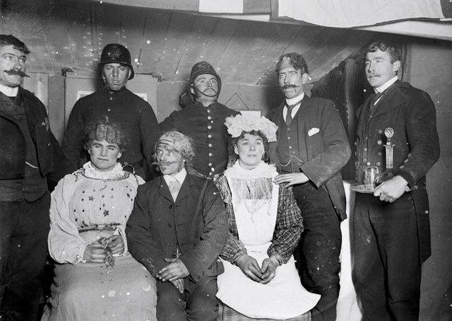 Antarctic Theatrical Company, of the National Antarctic Expedition (Discovery), ca 1904; cast members in costume - Britannica ImageQuest
