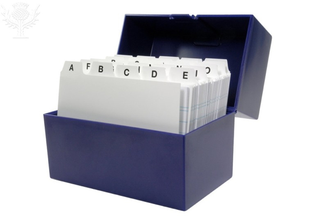 Notecards in file box - Britannica ImageQuest
