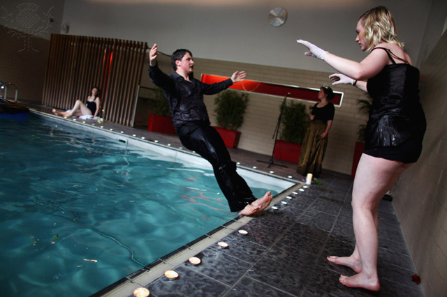 Three Bugs Fringe Theatre company performs Ophelia drowning in hotel swimming pool -- Britannica ImageQuest