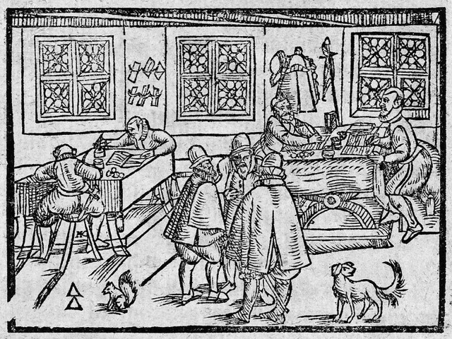Woodcut of scribes at work - Britannica ImageQuest