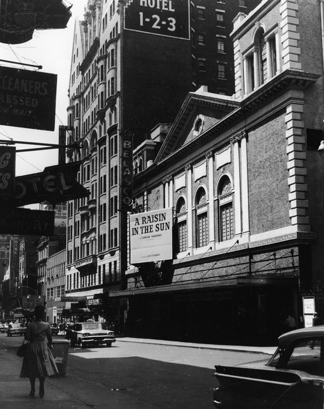 The marquee of the Belasco Theatre advertising Lorraine Hansberry's play 'A Raisin in the Sun,' New York, New York, late 1959.  Britannica ImageQuest
