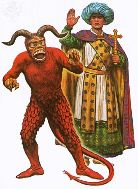The Devil and one of the Wise Men from a Medieval mystery play - Britannica ImageQuest