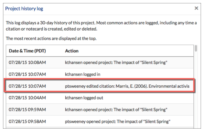 Project History Log