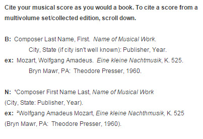 Scores music citations turabianchicago style libguides at citation format bbibliography nfootnote ccuart
