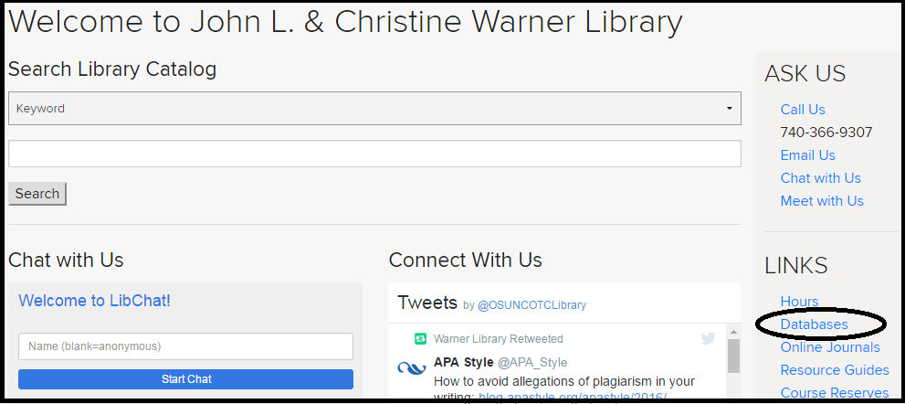 Image of the home page of the COTC Library website.  The databases link is circled.