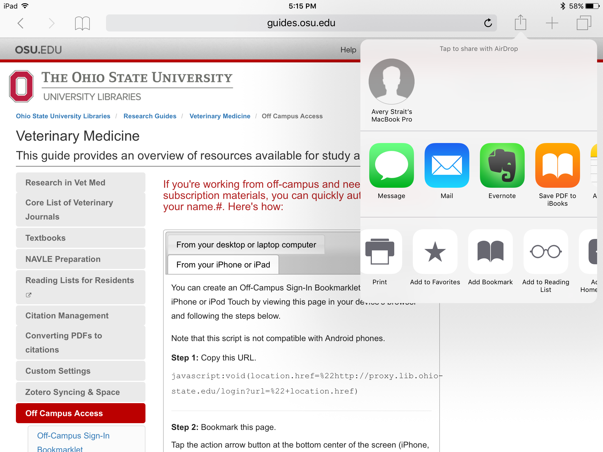 Screenshot showing how to bookmark this page on IPhone or iPad