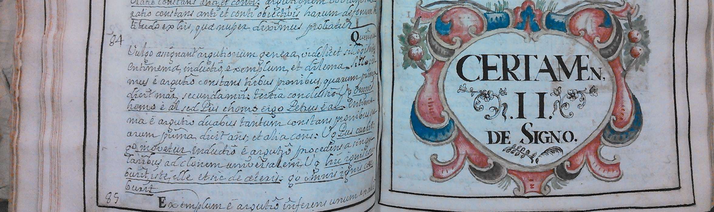 Image of manuscript text and decorated chapter heading from a philosophy textbook, in series 1, volume 2 of the Catholic School Manuscripts Collection.