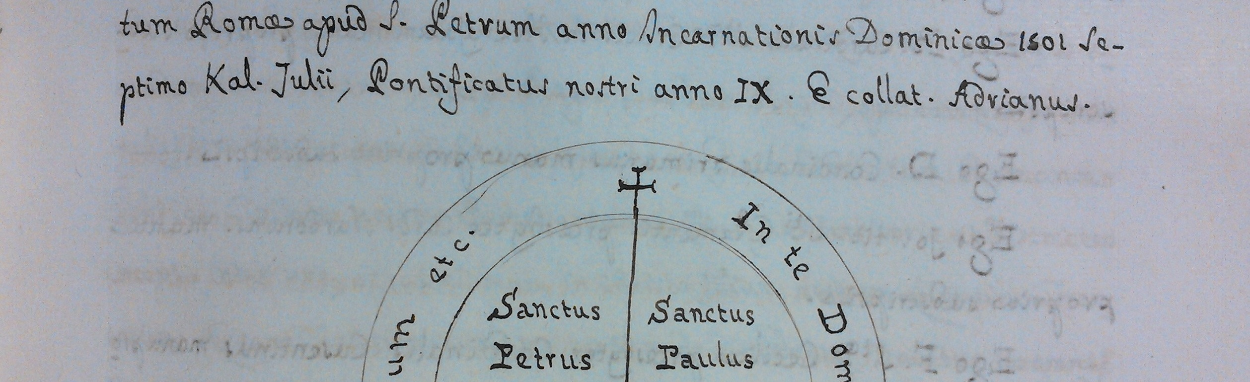 """Image of handwriting and an orb with cross and saints' names from the """"Magni archivii scriptuarum pro regali jurisdictione regni Neapolitani"""", a general history of the Spanish administration of the Kingdom of Naples undertaken for Philip IV of Spain. From the Chioccarelli Collection."""