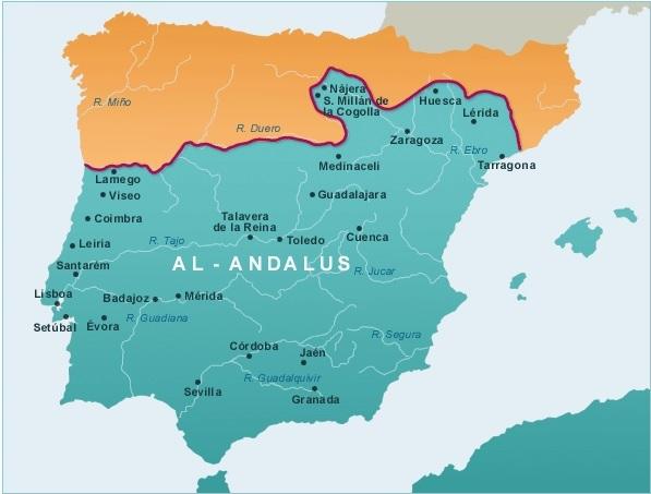 Map Of Spain Under Muslim Rule.Toledo Literatura Medieval Christian Islamic And Jewish