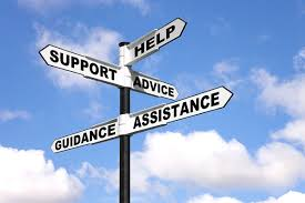 Guidepost of signs: support / help / advice / guidance / assistance