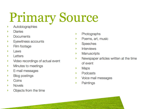 Primary sources in research paper