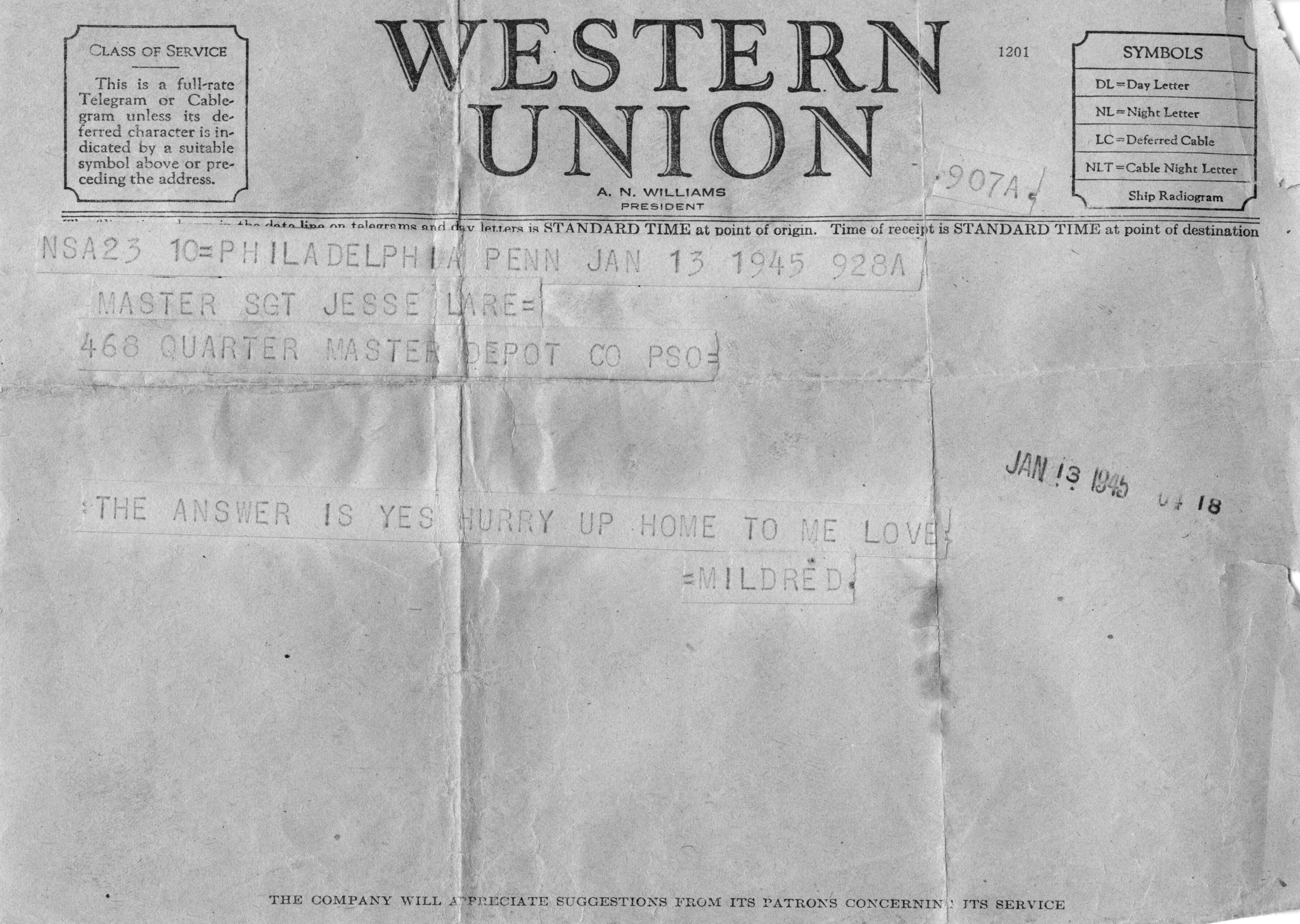 Western Union Letter-Mildred Accepts Jesse's Proposal, June13, 1945