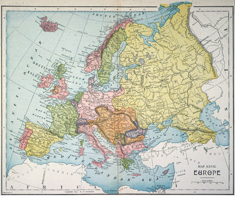 Map of Europe published in the United States, c1885