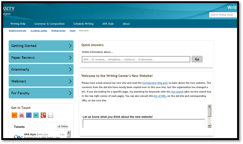 Writing Center Website Screenshot