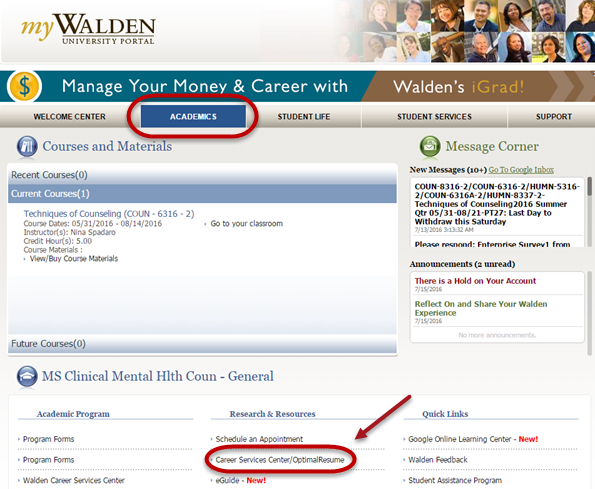 Academics tab with arrow pointing to the Career Services Center/OptimalResume link