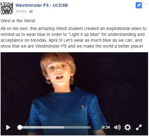 Westminster in the world - light it up blue - link to student created video