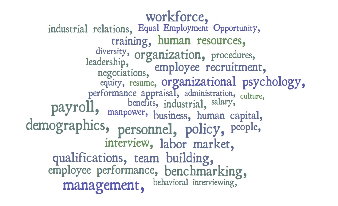 Word cloud of terms related to human resources management