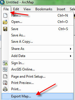 arcmap file menu - export map