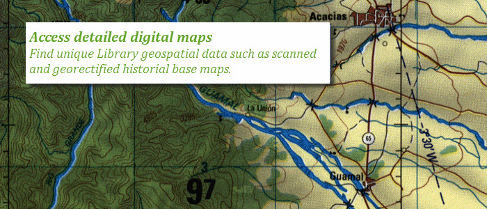 Access detailed digital maps: Find unique Library geospatial data such as scanned and georectified, historical base maps..
