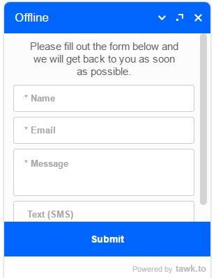 Offline--Please fill out the form below and we will get back to you as soon as possible.