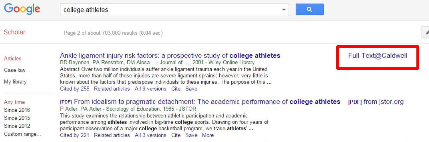 Example Google Scholar screen with full text link highlighted