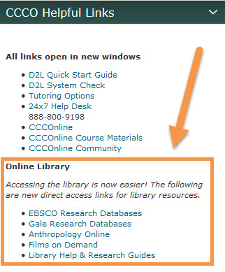 Library Databases CCCO Helpful Links Screen Grab