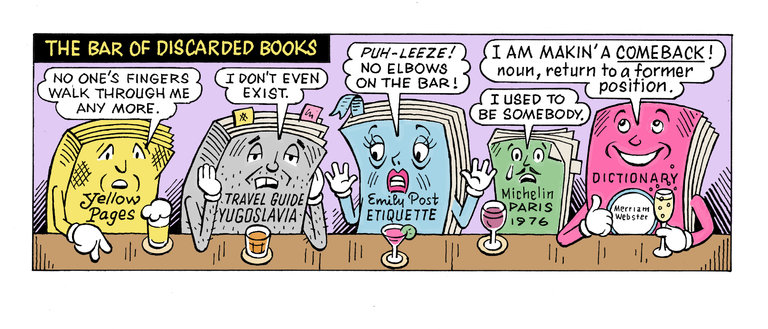 discarded books comic