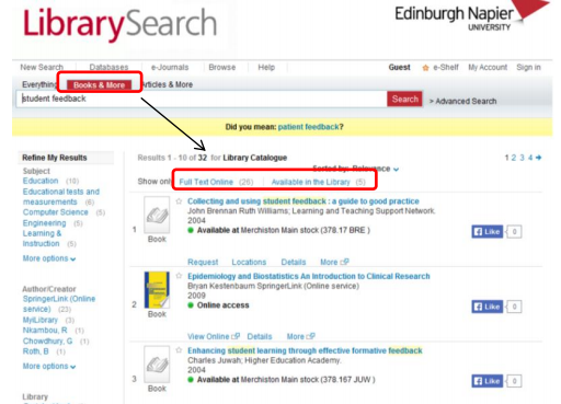 Books on Library Search