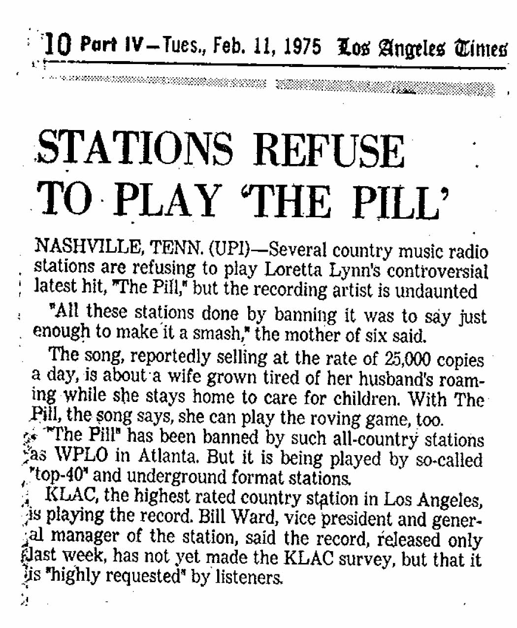 "Stations refuse to play ""The Pill"""
