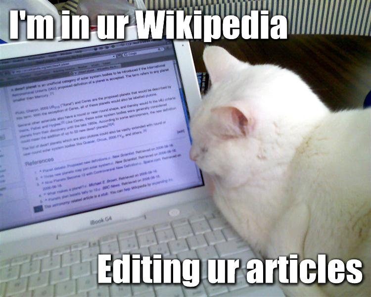 "Meme with cat looking at computer screen reading ""I'm in ur Wikipedia Editing ur articles"""