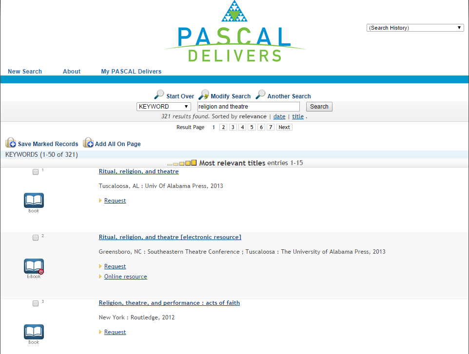 "Pascal Delivers search results page for the keywords ""religion and theater."""