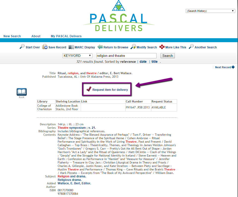 "Pascal Delivers catalog page showing the location of the ""Request Item for Delivery"" link below the item's title and publication information."