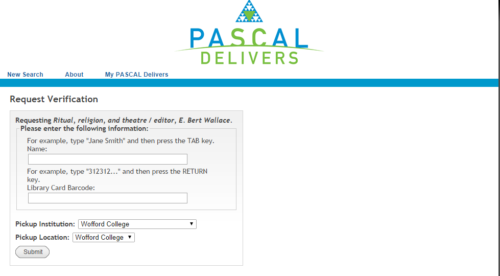 "Pascal Delivers ""Request Verification"" page, showing the location of the name and library barcode fields."