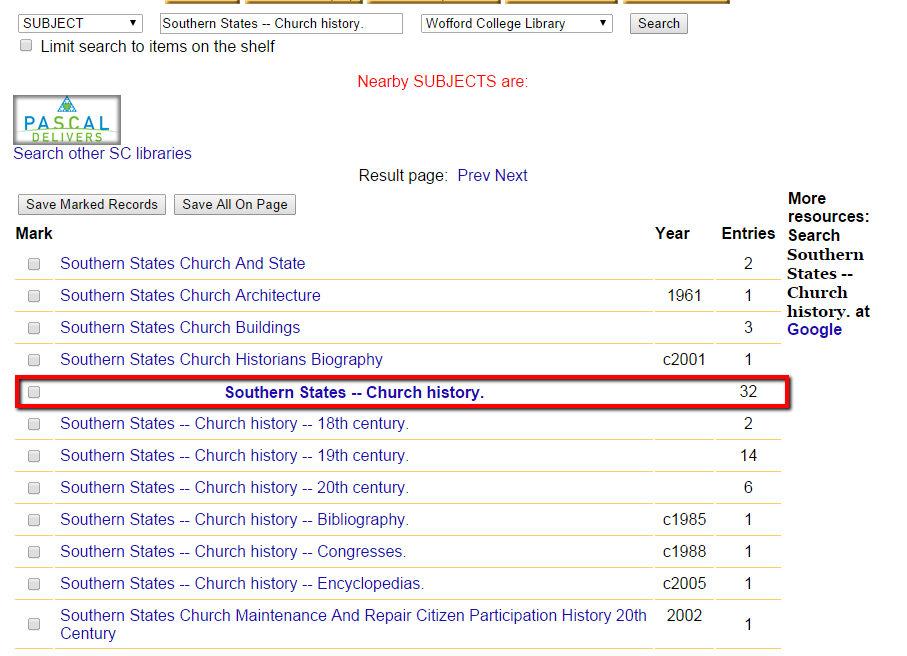 "Subject heading search screen showing many results. The heading for ""Southern States - Church History"" with 32 entries is highlighted."