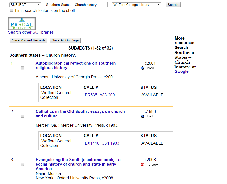 "Subject heading search results showing 32 catalog entries for ""Southern States - Church History."""
