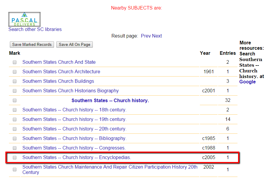 "Same results page as above showing subject headings related to church history in the south, with the heading ""Southern States - Church History - Encyclopedias"" highlighted."