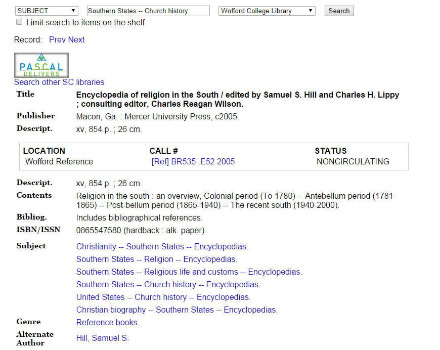 "Catalog record page for Encyclopedia of Religion in the South, which was accessed by clicking on the subject heading entry for ""Southern States - Church History - Encyclopedias."""