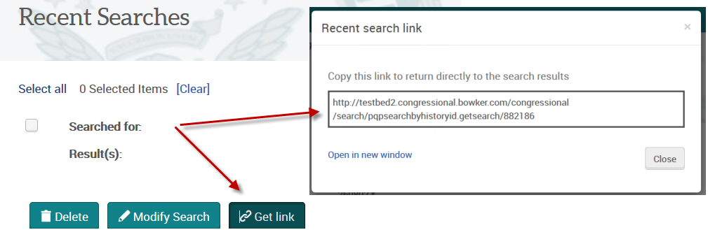 research searches - get link