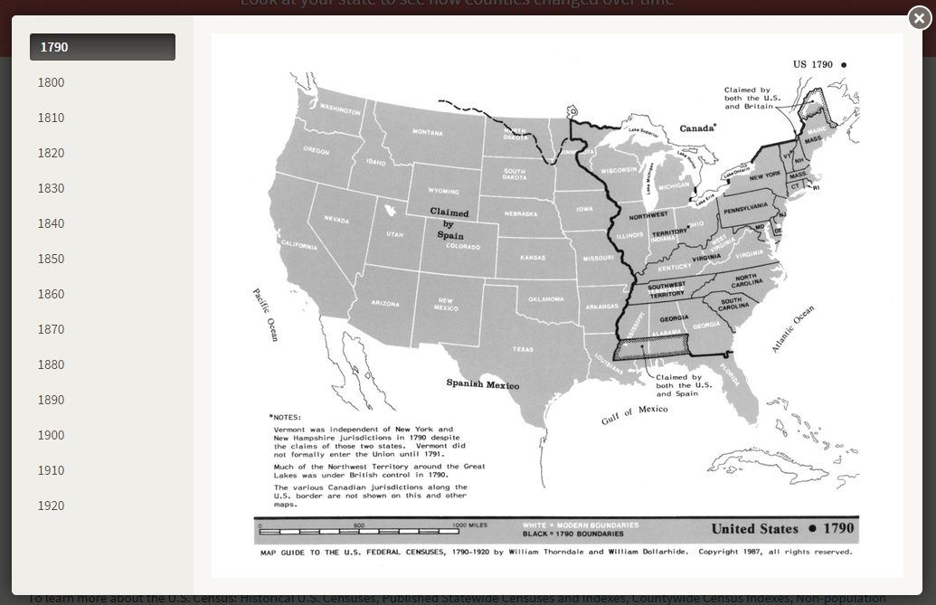 Maps Heritagequest Online Libguides At Proquest - Map-guide-to-the-us-federal-censuses-1790-1920