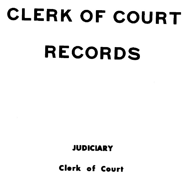 Cover of 'Clerk of Court records (1) by Pacific Islands (Trust Territory).'