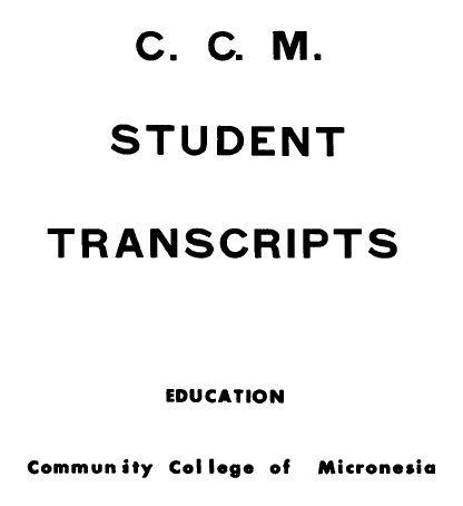 Cover of 'C.C.M. student transcripts'