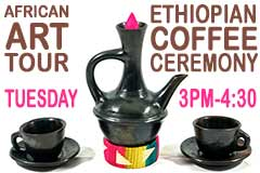 Ethiopian jebena (coffee pitcher) and cups
