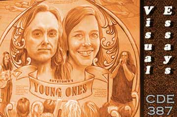 Drawing of Chris and Caecilia Holt, proprietors of Young Ones music store in Kutztown